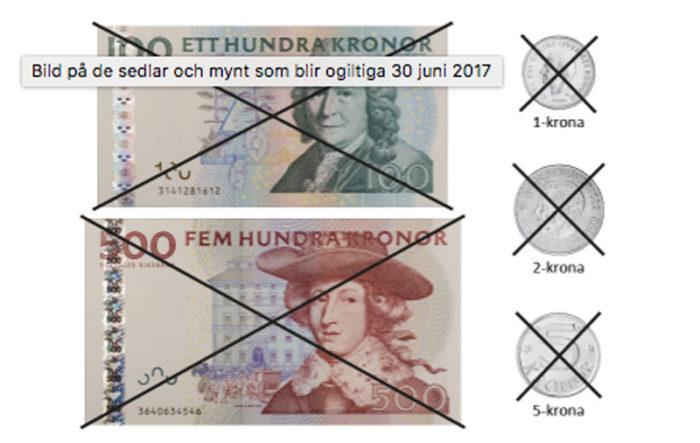 Dessa mynt och sedlar blev ogiltiga som betalningsmedel den 30 juni 2017.