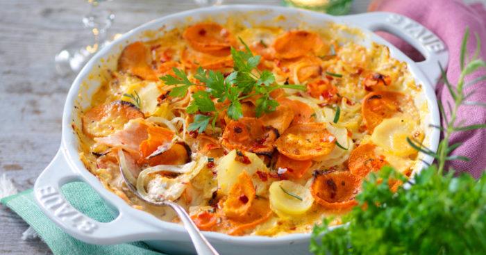 Gratäng med sötpotatis och morötter recept