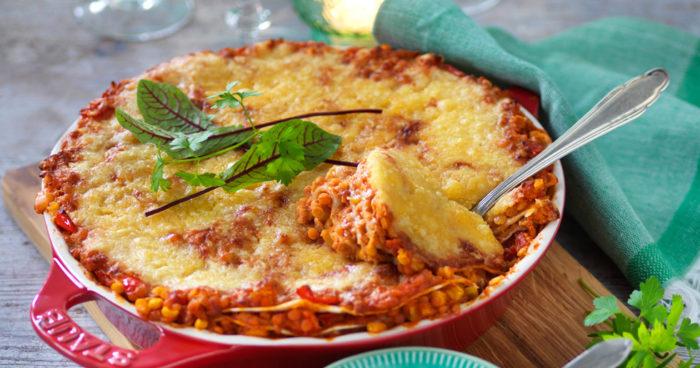 Vegetarisk tacogratäng med röda linser recept