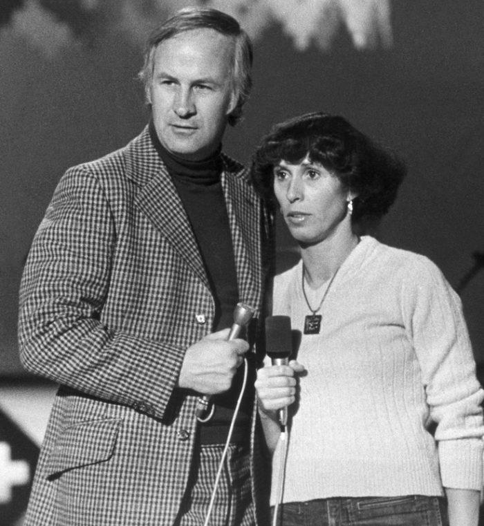 Bosse Larsson och Eva Rydberg vid tv-inspelning 1974.
