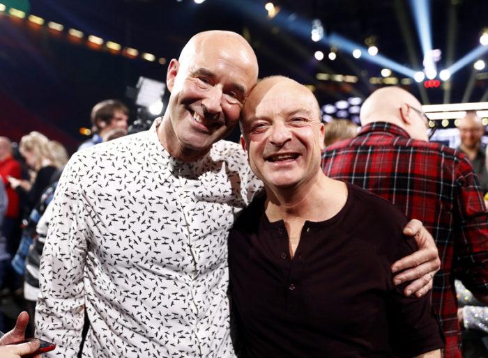 Mark Levengood och Jonas Gardell i samband med Melodifestivalen andra deltävling i Göteborg 2018.