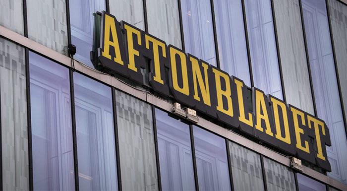 Aftonbladets logga på redaktionshuset i Stockholm.