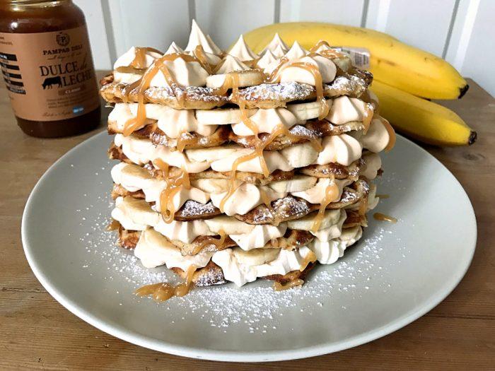 Glutenfria bananvåfflor med kolagrädde